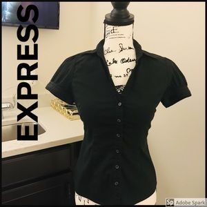 EXPRESS Short Sleeve Button Down Dress Shirt